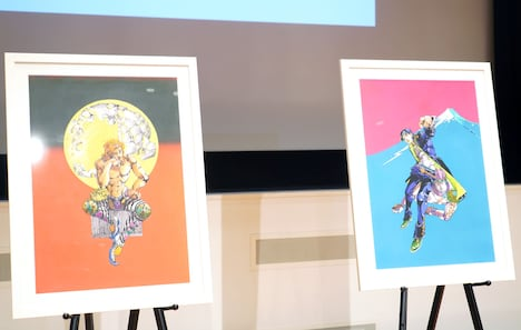 左から「荒木飛呂彦原画展 JOJO 冒険の波紋」大阪会場、東京会場のビジュアル。
