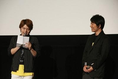 アニメ「BANANA FISH」第1話、2話先行上映会の様子。左から内田雄馬、野島健児。