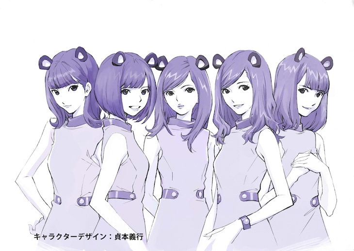 """貞本義行による""""マウスバンド """"のキャラクターデザイン。"""