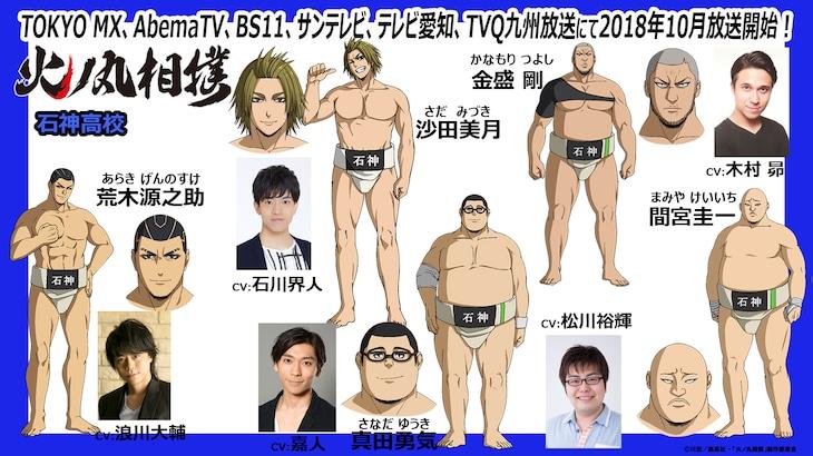 アニメ「火ノ丸相撲」石神高校相撲部のキャスト。