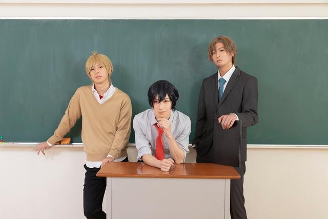 左から松田将希演じる荘敦大、植田圭輔演じる松尾真砂、山内圭輔演じる窪村匠。