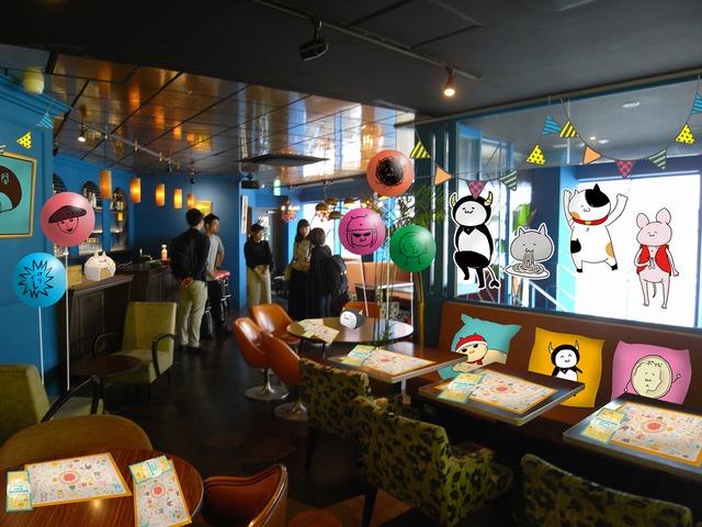 カレー沢薫コラボカフェの内装イメージ。