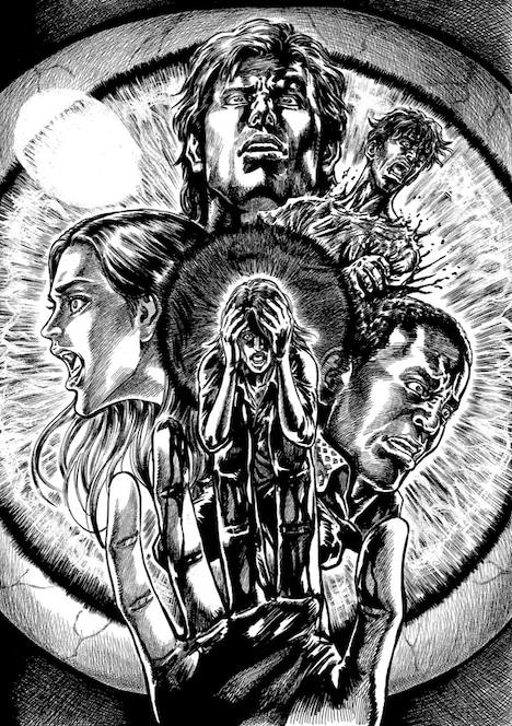 「蒼天の拳 リジェネシス」の辻秀輝が執筆した、映画「ダウンレンジ」の応援イラスト。