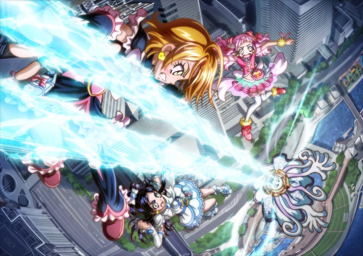 映画 プリキュア キュアエールたちが横浜の街を舞台に戦う場面カット