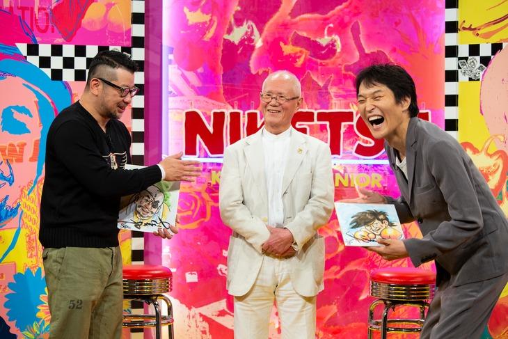 左からケンドーコバヤシ、ちばてつや、千原ジュニア。(c)読売テレビ