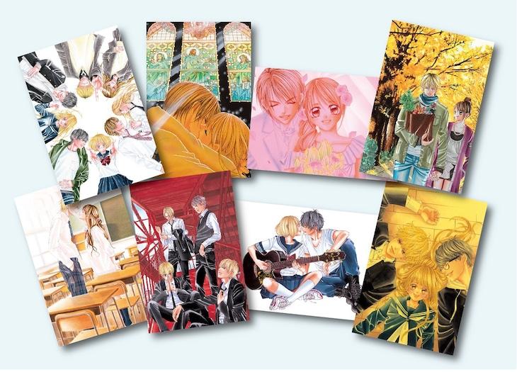 全8種のポストカード。上段左から「原画展限定ビジュアル」「僕は妹に恋をするA」「僕は妹に恋をするB」「僕の初恋をキミに捧ぐA」。下段左から「僕の初恋をキミに捧ぐB」「カノジョは嘘を愛しすぎてるA」「カノジョは嘘を愛しすぎてるB」「虹、甘えてよ。」。