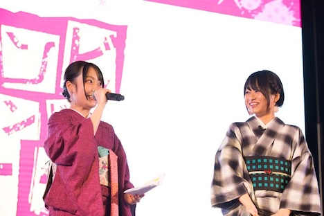 「Cygames Presents 伊万里湾大花火2018」の様子。左から本渡楓、河瀬茉希。