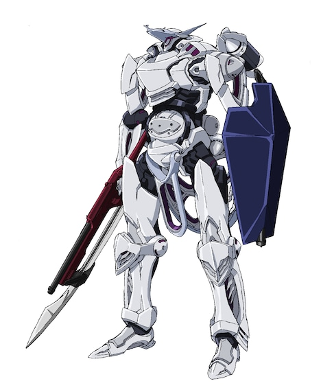 """ソレイユ王国の主力テウルギア""""ガルド""""。ガンランスとシールドを携えている。機動性が高く、先頭に立って戦場を駆け巡る。"""