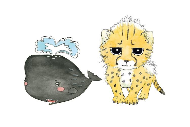 「大哺乳類展2-みんなの生き残り作戦」の展示のナビゲートキャラクターである(左から)まっ子、チー太。(c)早良朋/小学館