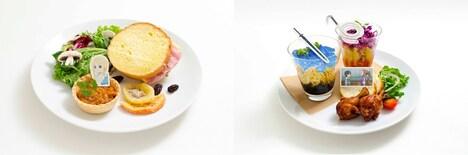 左から「アリスの差し入れサンドイッチ」、「キリト&ソルティリーナのパスタプレート」。