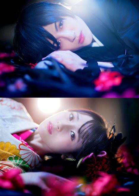 舞台版「BLACK BIRD」のキャストビジュアル。松村優演じる烏水匡、朝倉ふゆな演じる原田実沙緒。