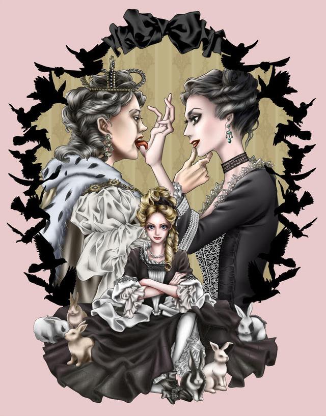 三原ミツカズと「女王陛下のお気に入り」のコラボアート。