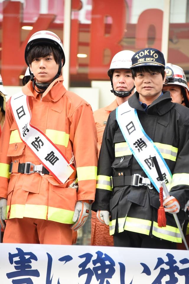 消防演習の様子。