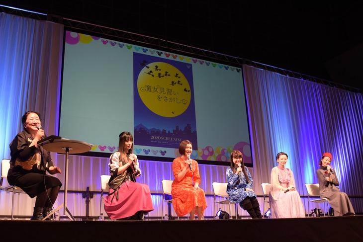 左からプロデューサーの関弘美、千葉千恵巳、秋谷智子、松岡由貴、宍戸留美、宮原永海。