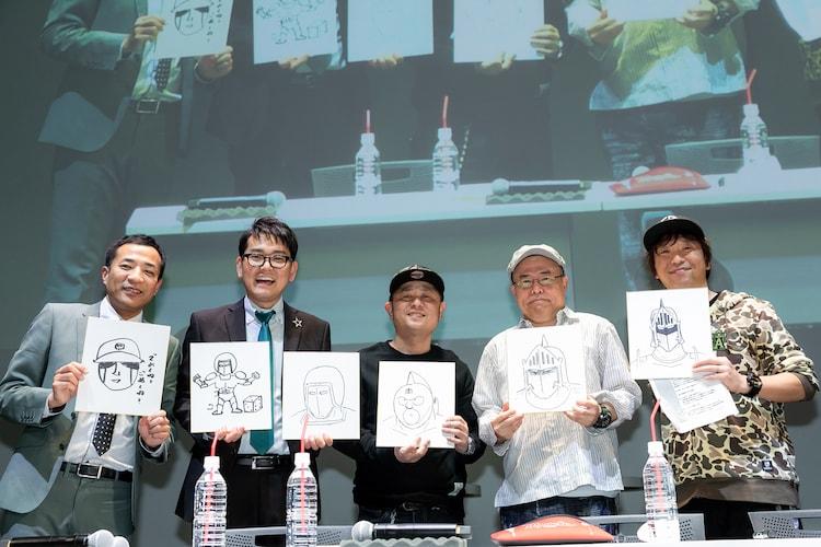 左からナイツの塙宣之、土屋伸之、ゆでたまごの嶋田隆司、中井義則、ホリ。