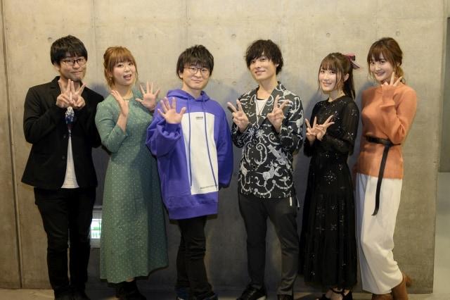 「AnimeJapan 2019」ステージイベントの舞台裏。左から司会の鷲崎健、井口裕香、阿部敦、岡本信彦、日高里菜、久保ユリカ。