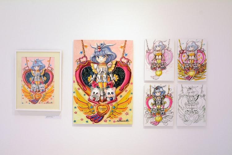 「チェンジ・アンド・チャレンジ」のコーナーより、大河原邦男が描いた「魔法の天使 クリィミーマミ」のイラスト。