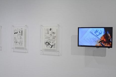 「『よつばと!』最新原画展」の様子。