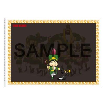 「王様ランキング×TOWER RECORDS クリアファイル」白い紙を挟むとイラストの見え方が変わる、A4サイズのクリアファイル。