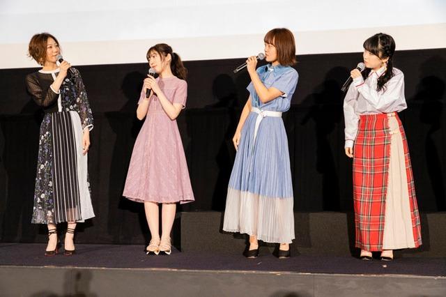 左から高坂麗奈役の安済知佳、川島緑輝役の豊田萌絵、加藤葉月役の朝井彩加、黄前久美子役の黒沢ともよ。