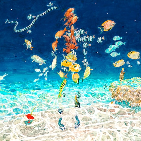 五十嵐大介が描き下ろした、米津玄師「海の幽霊」のジャケットイラスト。