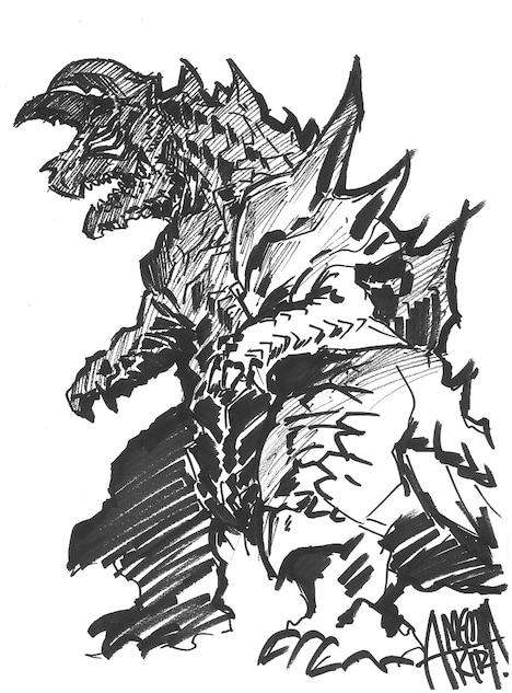 雨宮哲監督が描いた怪獣「カルツドン」。