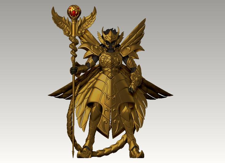 """蛇遣座""""黄金聖衣""""立像のモデリング。"""