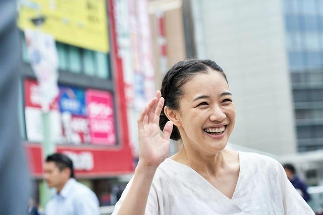 映画「宮本から君へ」より、蒼井優演じる中野靖子。