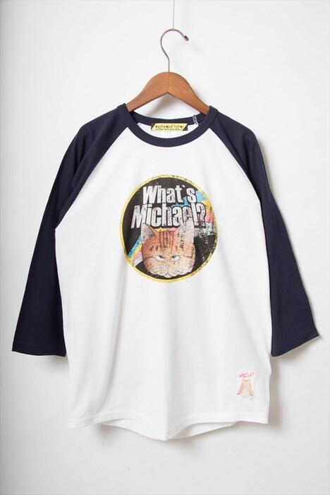 「マイケル 七分袖ラグランTシャツ(ホワイト×ネイビー)」