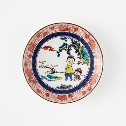「ちびまる子ちゃん」の九谷焼豆皿。(c)さくらプロダクション