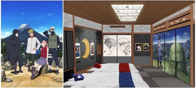 ナルトら第七班のメンバーが富士山をバックに談笑するビジュアル(左)と、ハイランドリゾートホテル&スパに登場する和室「ジャパニーズスイートルームNARUTO」のイメージ(右)。