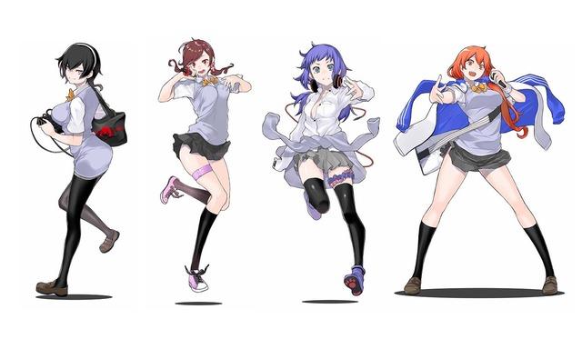 Microphone Soul Spinnersのキャラクタービジュアル。左から与謝野詩歌、向田らいむ、ヴィルヌーヴ千愛梨、川端ひまわり。