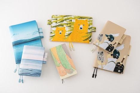 右端が松本大洋のイラストをデザインした手帳カバー「ぼくとマンガ」。