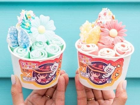 アニメ映画「このすばロールアイス」。左から「アクア ミント&ミント味」、「めぐみん イチゴ&マンゴー味」。
