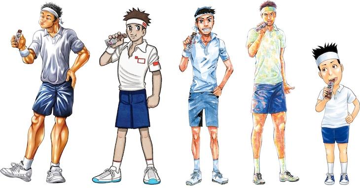 週刊少年チャンピオンの作品と錦織圭選手のコラボイラスト。