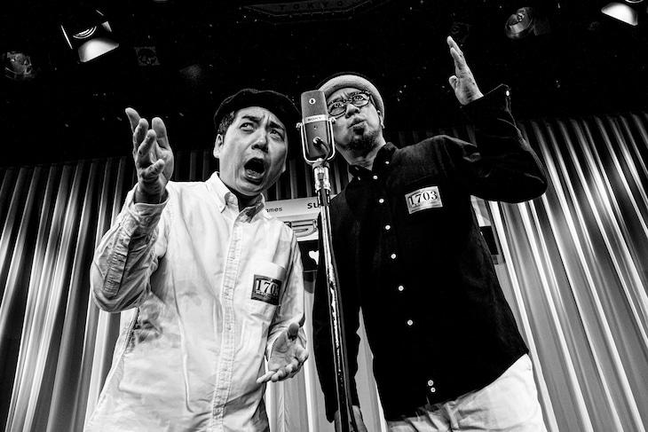 マンガ家の長田悠幸(右)とコンビ「漫画家」を結成し、「M-1グランプリ2018」に出場する森田まさのり(左)。(撮影:タカハシアキラ)