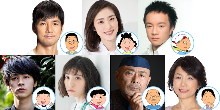 上段左から西島秀俊、天海祐希、濱田岳、下段左から成田凌、松岡茉優、伊武雅刀、市毛良枝。