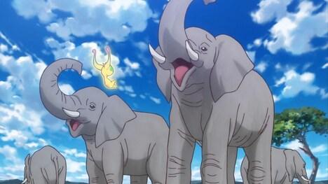 「映画スター☆トゥインクルプリキュア 星のうたに想いをこめて」より、大きなゾウに慌てふためくユーマ。