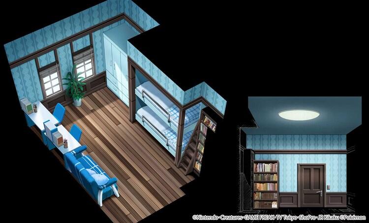 「サクラギ研究所」の内観。サトシとゴウが寝泊まりしている部屋。