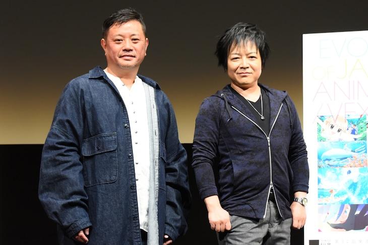 アニメ映画「AKIRA」上映会の様子。左から岩田光央、佐々木望。