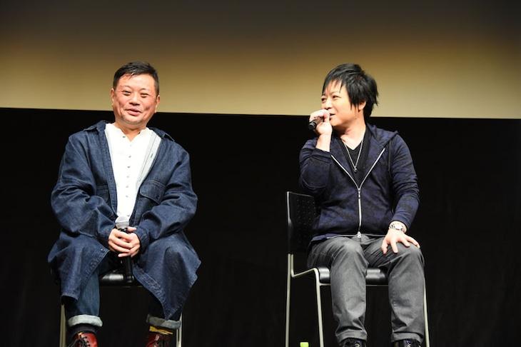 「AKIRA」上映会の様子。左から岩田光央、佐々木望。