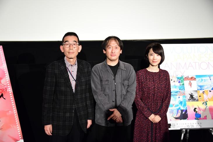 「白蛇伝 4Kデジタルリマスター版」上映会にて。左から根岸誠氏、近藤修治氏、伊藤志穂氏。