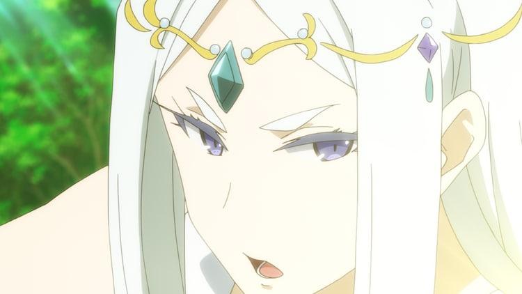 TVアニメ「慎重勇者~この勇者が俺TUEEEくせに慎重すぎる~」第7話より、三石琴乃演じる女神・ミティス。