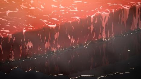 """アニメ「空挺ドラゴンズ」ミカが""""龍の尾身ステーキサンド""""を作って食べる料理映像より。"""
