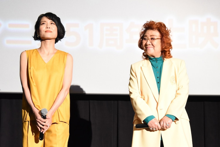 左から沢城みゆき、野沢雅子。