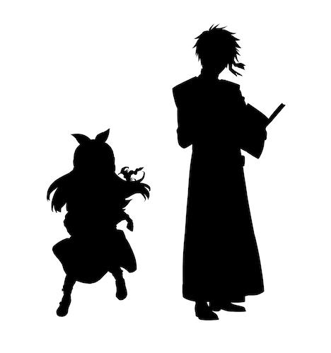 「本好きの下剋上 司書になるためには手段を選んでいられません」×「魔術士オーフェンはぐれ旅」コラボイラストのシルエット。