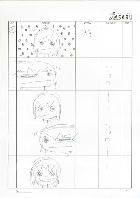 湯浅監督が手掛けたオープニング映像の絵コンテ。