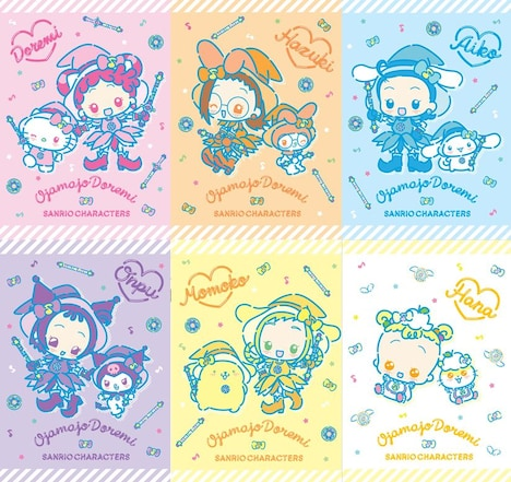 「おジャ魔女どれみ」とサンリオキャラクターのコラボデザイン(ファンシーポップデザインver)。