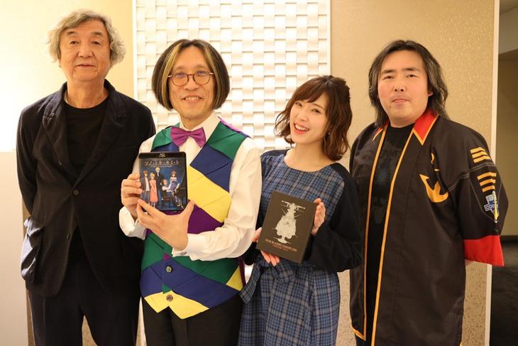 「『宇宙戦艦ヤマト2202』コンサート2019 Blu-ray発売記念!愛のフィルムコンサート」の様子。左から西崎彰司、宮川彬良、中村繪里子、福井晴敏。
