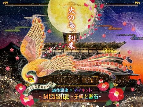 プロジェクションマッピング第2弾「道後温泉×ネイキッド MESSAGE -子規と漱石-」のキービジュアル。